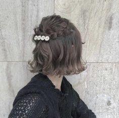 Trendy Ideas For Very Short Hair Arrange Kawaii Hairstyles, Messy Hairstyles, Pretty Hairstyles, Very Short Hair, Braids For Short Hair, Hair Arrange, Zooey Deschanel, Asian Hair, Bridesmaid Hair