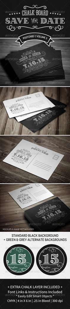 Save The Date Postcard   Volume 3   Chalkboard - Weddings Cards & Invites  Got these in Black.  ;-)