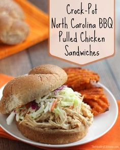 With a quick, five-ingredient sauce you mix directly in your slow cooker, these North Carolina-style barbecue pulled chicken sandwiches are super easy and insanely delicious! ~ www.TwoHealthyKitchens.com