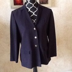 Dana Buchman Black 100% Silk Blazer Black silk blazer. Like new! I have gold buttons on it for casual but I will give you rhinestone buttons for dress up. I Love it but too small. Dana Buchman Jackets & Coats Blazers