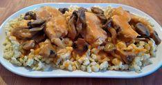 Mennyei Halpaprikás bakonyi módon, amurból recept! A halpaprikást legtöbbször harcsából készítjük, de az amur hófehér száraz húsával legalább olyan finomra elkészíthető, mint a harcsa. Bakonyi módon készítjük, így nem hiányozhat a gomba sem az ételből. Minél többféle gombát használunk, annál finomabb lesz az elkészült étel. Grains, Rice, Chicken, Meat, Dinner, Recipes, Food, Beef, Food Dinners