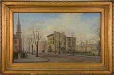 """Edward Lamson Henry (1841-1919) THE HOME OF DUDLEY SANFORD GREGORY  oil on canvas  signed lower right E. L. Henry 1865  16"""" x 27""""  Provenance: Mrs. Ernest Franklin Tyler (France Gregory)  to current Consigner  Reference: Photographic copy is in Frick Art Reference Library, N.Y.   The Home of Dudley Sanford Gregory in Jersey City. Dudley was the first Mayor of Jersey City. Scene depicts Dudley S. Gregory's home and Presbyterian Church at intersection of Washington and Sussex"""