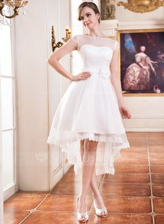 A-Line/Princess Scoop Neck Asymmetrical Organza Satin Wedding Dress With Lace Beading Flower(s) (002055226) - JJsHouse