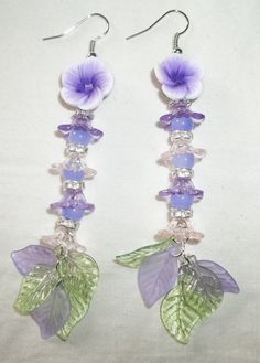 Beautiful Dangling Earrings Purple Polymer by GrammyKayesCreations