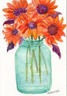 Original  Sunflowers Watercolor Painting  by SharonFosterArt, $20.00