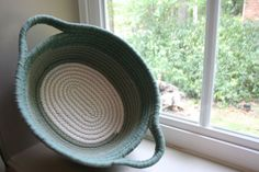 Fabric Coil Basket of Upcycled T-shirts in Shades of Sage