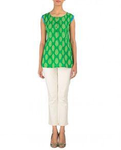 Parrot Green Printed Top