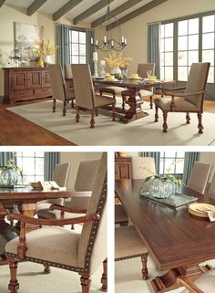 Vintage inspired dining room. Beautiful wood details on the table top. Love the nail heads on the upholstered chairs too!