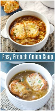 French Onion Soup -Easy French Onion Soup - This Roasted Tomato Soup is made with simple pantry items along with juicy ripe tomatoes and fresh basil, then blended into a creamy flavorful homemade soup Onion Soup Recipes, Easy Soup Recipes, Dinner Recipes, Cooking Recipes, Healthy Recipes, Easy Onion Soup Recipe, Easy French Recipes, Healthy Soup, Classic French Onion Soup