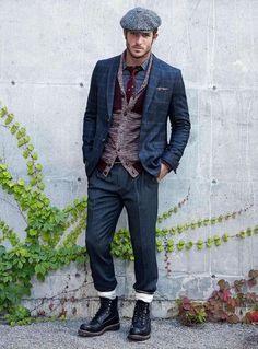 Denim Blazer, Fitted Denim Jeans, Vest, Scarf, Tweed Driving Cap, and Boots. Men's Fall Winter Fashion.