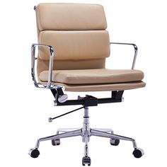 SOFT PAD Management Leather Office Chair - Eames Reproduction - Light Brown | Milan Direct
