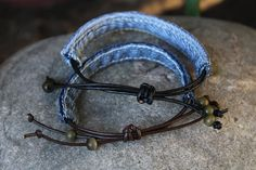 Denim Bracelet with Green Beads - Your Choice of Brown or Black Leather by AllintheJeans on Etsy