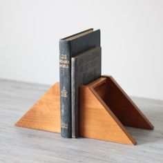 angular wood bookends
