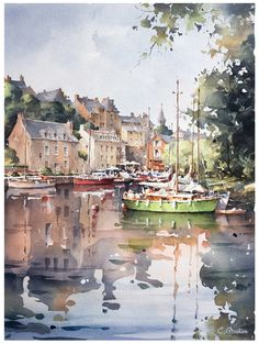 Watercolor City, Watercolor Water, Watercolor Artwork, Watercolor Sketch, Watercolor Portraits, Watercolor Landscape, Landscape Art, Landscape Paintings, Watercolor Architecture