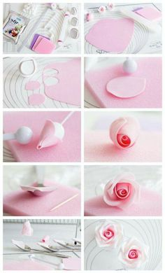 Coloring Gumpaste Flowers New Gum Paste Rose Step by Step Tutorial … - fondant rose Sugar Paste Flowers, Icing Flowers, Fondant Flowers, Cake Decorating Techniques, Cake Decorating Tutorials, Tutorial Rosa, Decors Pate A Sucre, Fondant Flower Tutorial, Cake Tutorial