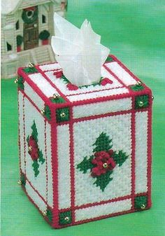 CHRISTMAS-HOLLY-TISSUE-BOX-COVER-PLASTIC-CANVAS-PATTERN-INSTRUCTIONS