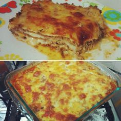 Lasanha de abobrinha no lugar da massa, com queijo e bolonhesa.