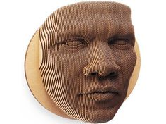An 87 Piece Topographical Cardboard Face Mask. The Jack Cardboard Wall Mask: Made from recycled cardboard, & is assembled like a puzzle. Cardboard Mask, Cardboard Sculpture, Cardboard Paper, Cardboard Furniture, Cardboard Crafts, Sculpture Art, Cardboard Relief, Cardboard Design, Creation Art