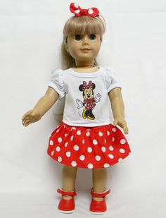 Minnie Mouse Theme Outfit  For 18 Inch Doll Like by sewcutebymary