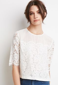 Floral Lace-Paneled Top   Forever 21 - 2000132067