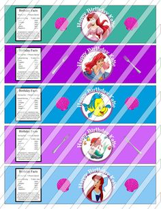 Adorable Disney Little Mermaid Princess Ariel Birthday Party Water Bottle Labels Wrappers Party Favors Custom Printables
