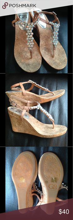 Gianni Bini Iridescent Wedges 8.5 Adorable, fun Gianni Bini cork wedges with iridescent stones.  Bought for a wedding. Worn once. All stones are secure.  Got lots of compliments on these the one and only time I wore them.  Love the mix of colors in the stones and the nude color of the straps.  So cute!  Smoke free home.  No trades. Gianni Bini Shoes Wedges