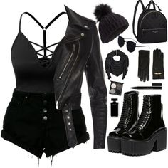 Lederjacke ~ schwarz 🖤 - Outfits - Source by grungepinbaby de moda juveniles chicas Cute Emo Outfits, Bad Girl Outfits, Teenage Outfits, Teen Fashion Outfits, Edgy Outfits, Mode Outfits, Grunge Outfits, Look Fashion, Outfits For Teens
