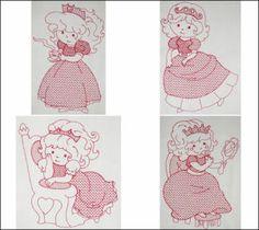 """""""Little Princess"""" Redwork set is darling for embellishing a quilt or other special project for your own lil princess!"""