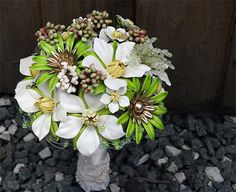 The Rite of Spring II -   Vintage designer Brooch  Bouquet in Green and White. $595.00, via Etsy.