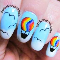 Hot air balloon nail art hot air balloons air balloon and nail nail hot air balloon nails prinsesfo Choice Image