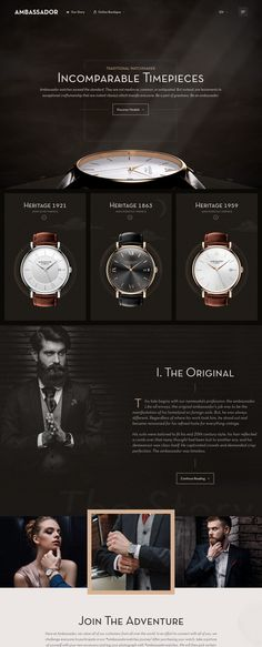 Ambassador Watches (More web design inspiration at topdesigninspiration.com) #design #web #webdesign #sitedesign #responsive #ux #ui