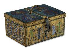 Ataúd con trovadores, 1180 - 1121 x 15.6 x 11 cm, de la Corte de Aquitania, Limoges, Francia, The British Museum (El Museo Británico)