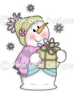Digi Stamp 'Chilly con regalo' muñeco de nieve. Hace tarjetas
