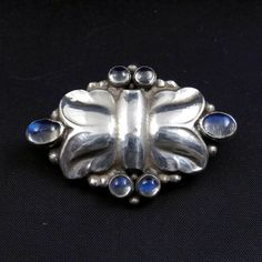 GEORG JENSEN # 54 Brooch Pin Sterling Silver with Blue Moonstones  #GeorgJensen