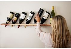 DIY, wine rack, wood plank, transformed, do it yourself, #camillestyles