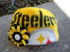 Pittsburgh Steelers Fleece Flower Hat Sizes by MapleSugarLane, $11.00