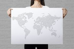 This giant world map coloring page guarantees hours of coloring and makes an amazing wall art. You can use it to keep track of your travels as well! This poster is a perfect gift for travelers and older children. It works both as a detailed coloring page, as well as minimalistic art print. Each of the continents is illustrated with a circle pattern.
