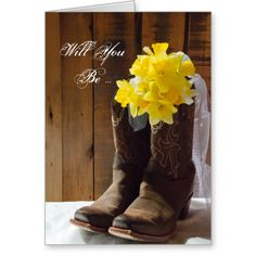 Shop Daffodils and Cowboy Boots Country Western Wedding Notebook created by loraseverson. Personalize it with photos & text or purchase as is! Western Wedding Invitations, Bridal Shower Invitations, Invites, Wedding Save The Dates, Post Wedding, Wedding Ideas, Rustic Wedding, Wedding Menu, Dream Wedding