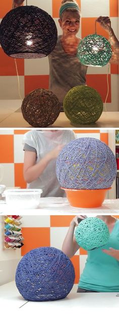 How to Make Yarn Globes DIY Home Decor Ideas on a Budget Living Room Easy Decorating Ideas for the Home Hacks budget decor DIY easy globes home ideas living room Wohnkultur Ideen Wohnzimmer mit kleinem Budget Yarn Easy Home Decor, Handmade Home Decor, Diy Room Decor, Diy For Room, Affordable Home Decor, Diy On A Budget, Decorating On A Budget, Easy Budget, Room Decorating Ideas