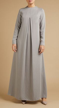 Tailored Pleat Front Abaya - Grey ,  #Abaya #front #grey #pleat #tailored