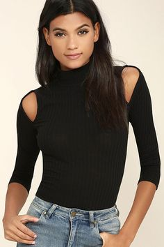 Add a little spice to your collection of basics with the Touch the Sky Black Long Sleeve Top! Lightweight ribbed knit features a mock neck and long sleeves with fun cold-shoulder cutouts.