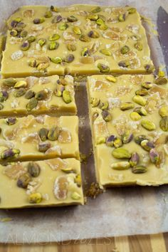 Ginger and Pistachio Slice - Full of crunch and spice with a rich silky frosting that melts in your mouth! This is sure to be a favorite!! @almondtozest