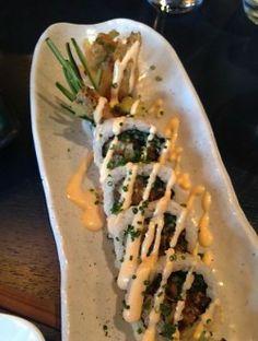 Soft shell crab tempura maki and 'Misty Mountain' sake. Rocking combination! #crab#tempura#sushi
