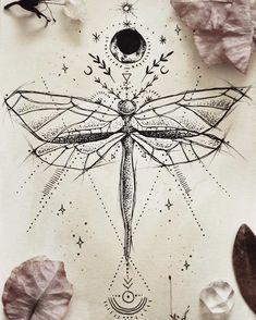 geometric drawings, insect, moon, sun and stars, ancient symbols tatoo feminina - tattoo feminina de Tattoo Designs, Dragonfly Tattoo Design, Dragonfly Drawing, Dragonfly Art, Butterfly Design, Art Designs, Tattoo Drawings, Body Art Tattoos, Tattoo Art