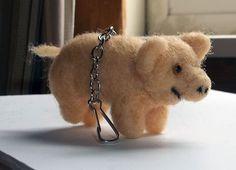 Tiny Needle Felted Piggy Lanyard Clip by KathysCraftShop on Etsy