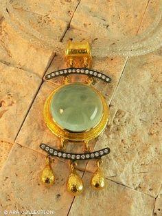 Cabochon aquamarine  necklace