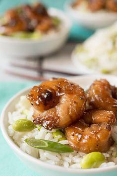 Edamame-Ginger Rice with Bourbon-Glazed Shrimp by thekitchn #Shrimp #Edamame #Ginger #Rice #Healthy
