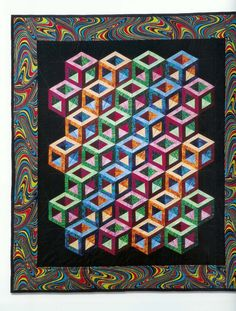 #Tumbling-Blocks-Quilt