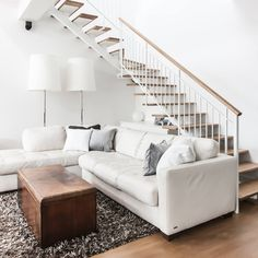 Dorion Project Reveal - Staircase & Living room - Valérie De L'Étoile Interior Design Stairs, Living Room, Design, Home Decor, Stairway, Decoration Home, Room Decor, Staircases