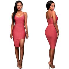 Red Hot  Hot Crisscross Back  Side Slit Fitted Slip Midi Dress G007R